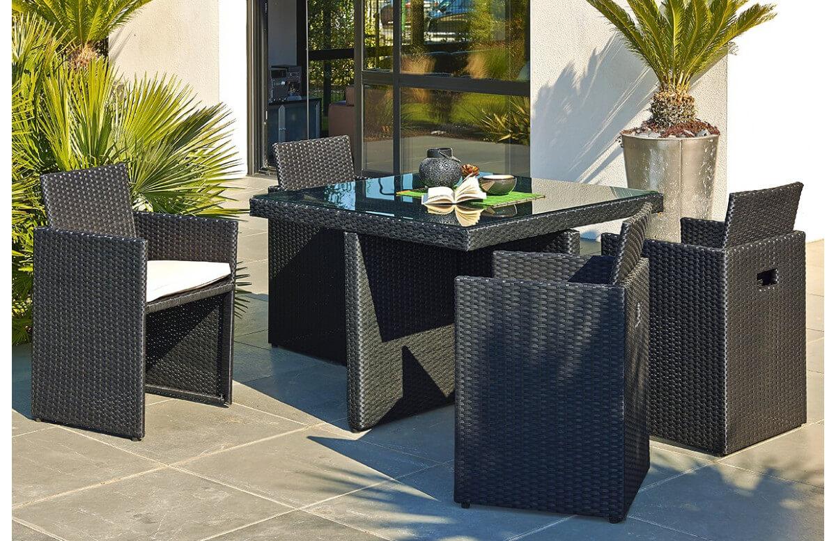 salon de jardin design encastrable 4 places dcb garden en resine tressee