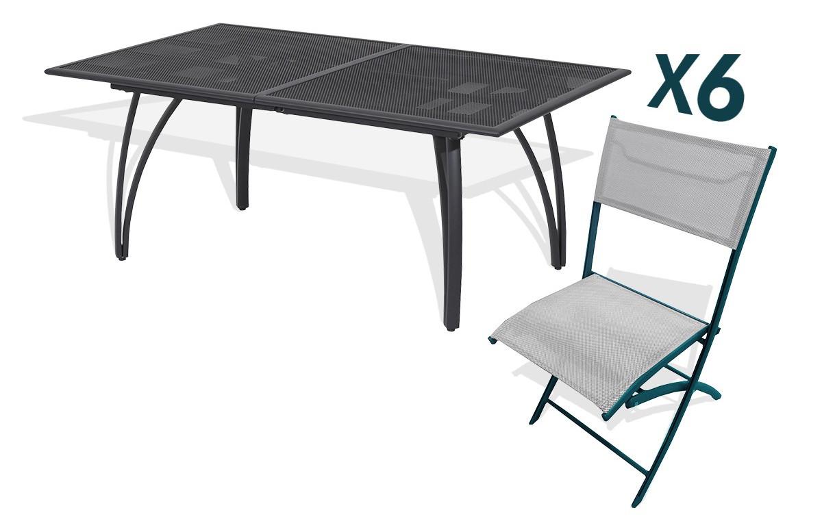 ensemble table et 6 chaises pliantes aluminium et textilene gris