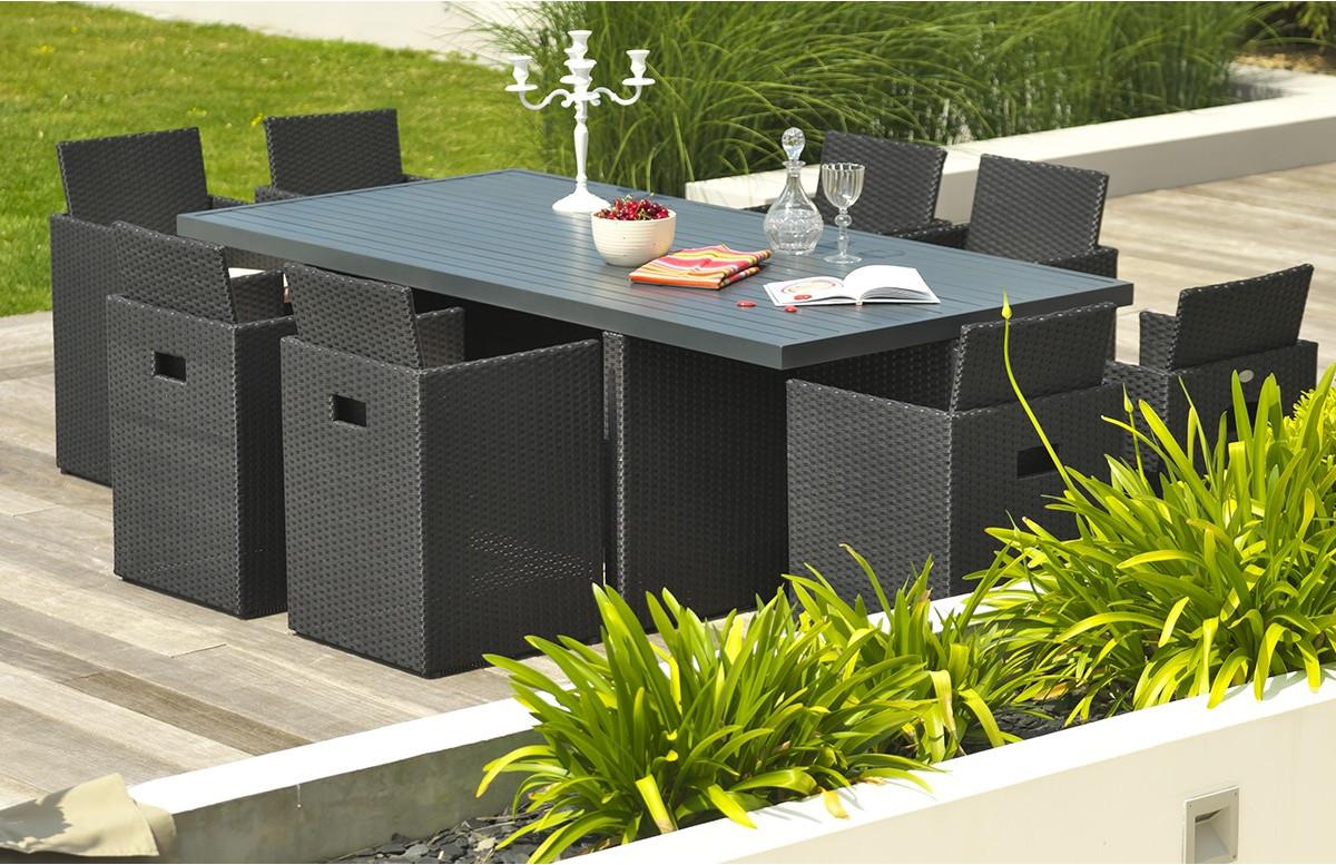salon de jardin encastrable 8 places dcb garden en resine tressee aluminium noir
