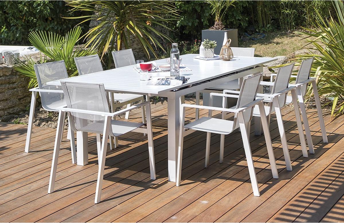 ensemble table et chaises de jardin en alu plateau aluminium 6 personnes dcb garden blanc