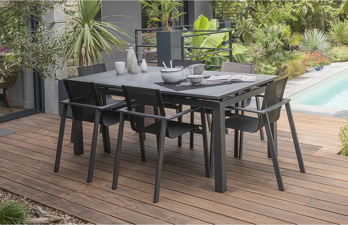 ensemble table et chaises de jardin avec rallonge plateau verre 6 personnes dcb garden gris