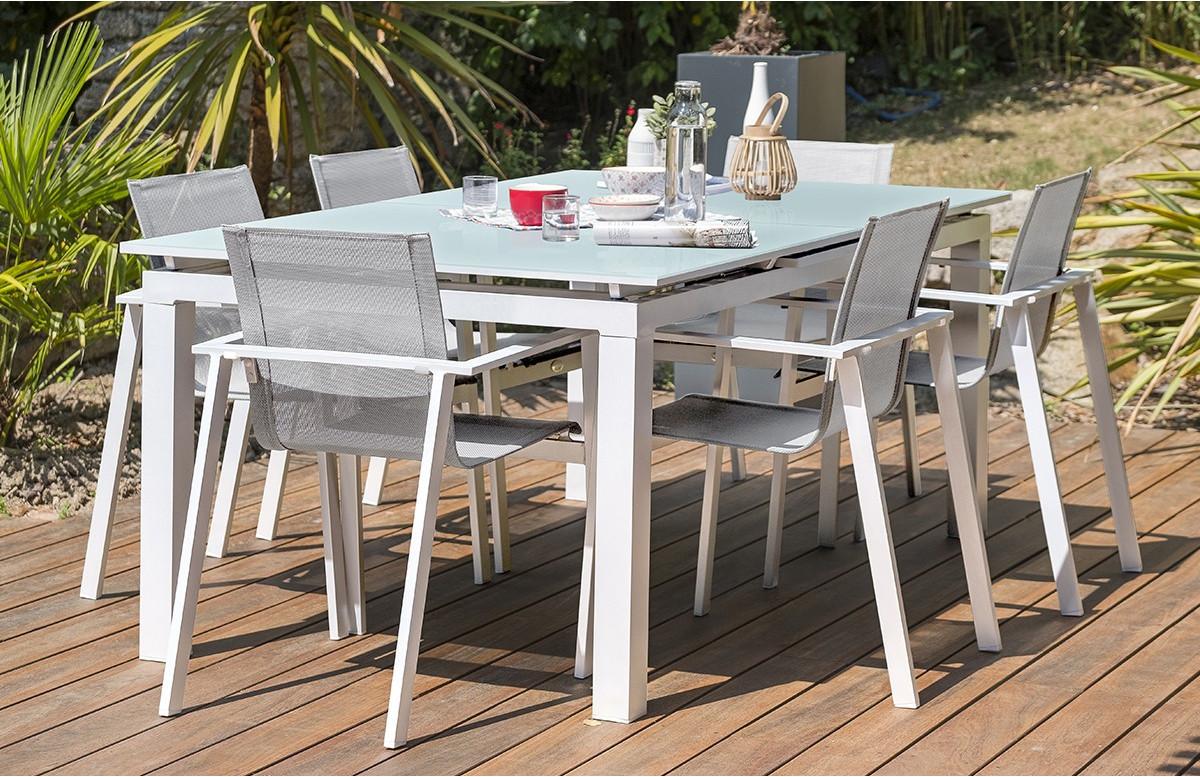 ensemble table et chaises de jardin en aluminium plateau verre 6 personnes dcb garden blanc