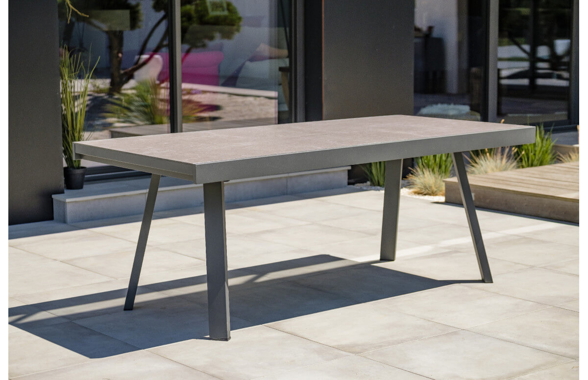table salon de jardin extensible en ceramique alu pour 12 personnes dcb garden stockholm gris anthracite