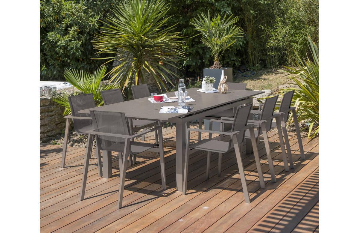 ensemble table et chaises de jardin en aluminium dcb garden 8 personnes sable