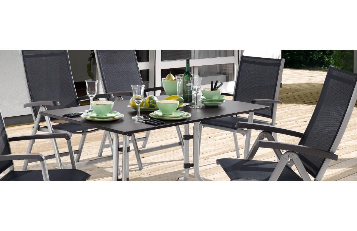 ensemble table et fauteuils de jardin inclinable aluminium textilux 6 personnes bodega sieger