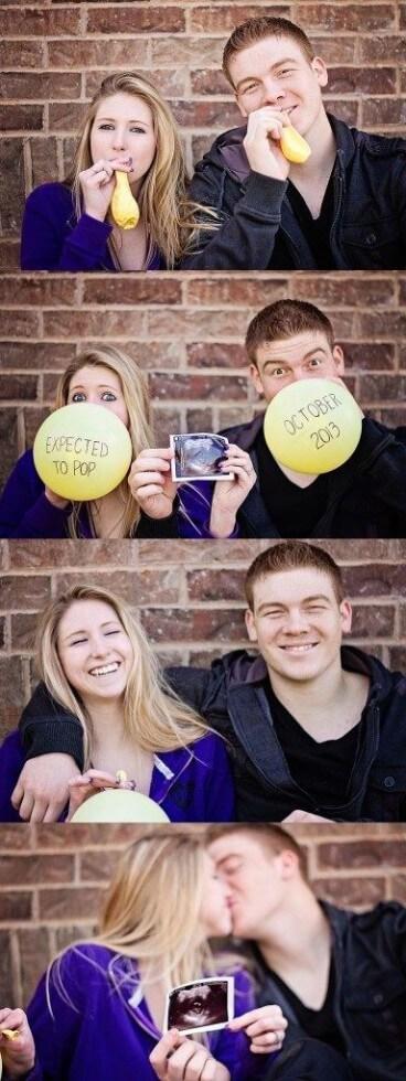 couple annonce grossesse avec ballon