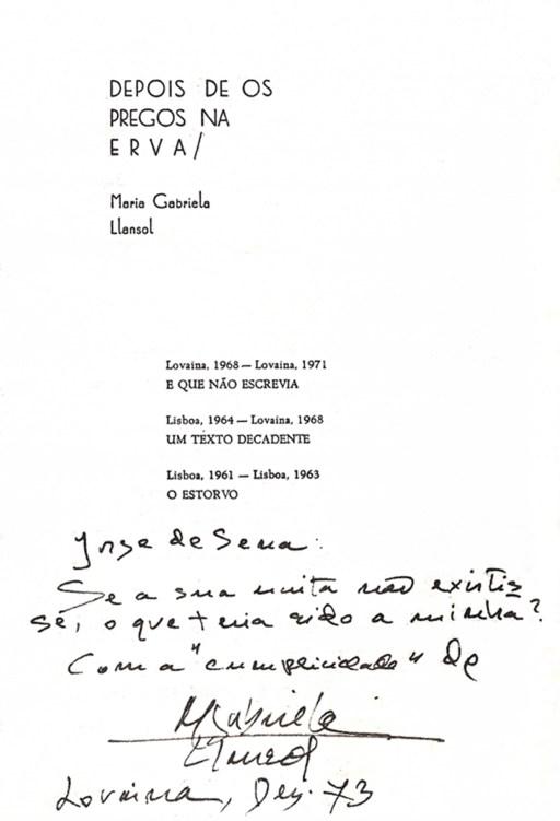 Figura 03. Dedicatória de Maria Gabriela Llansol a Jorge de Sena. [9]