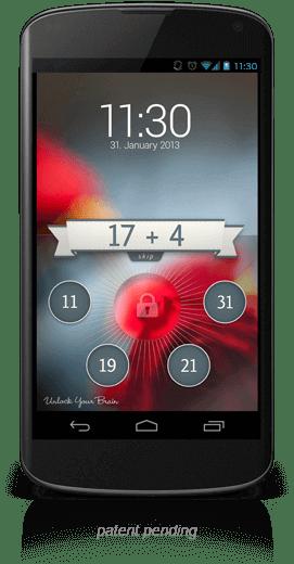 Beispiel eines UnlockYourBrain Lockscreens auf einem Nexus 4 Smartphone