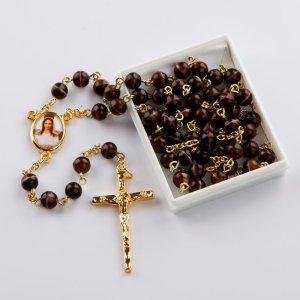 chapelet avec perles rondes brun-marbré