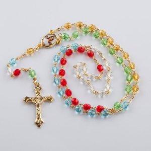 chapelet missionnaire avec perles rondes sur chaîne dorée