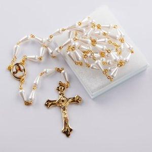 chapelet avec perles en forme de goutte blanches-imitation perle