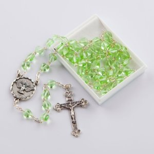 chapelet avec perles en forme de coeur vertes-confirmation