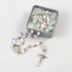 chapelet pour bébé avec perles tricolores-chaîne argentée