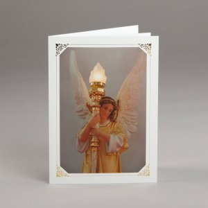card with assorted photos-angel by the main altar