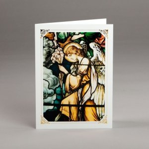 card with assorted photos-stained-glass window-an angel