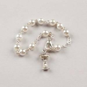 bracelet dizainier première communion perle - chaîne argentée