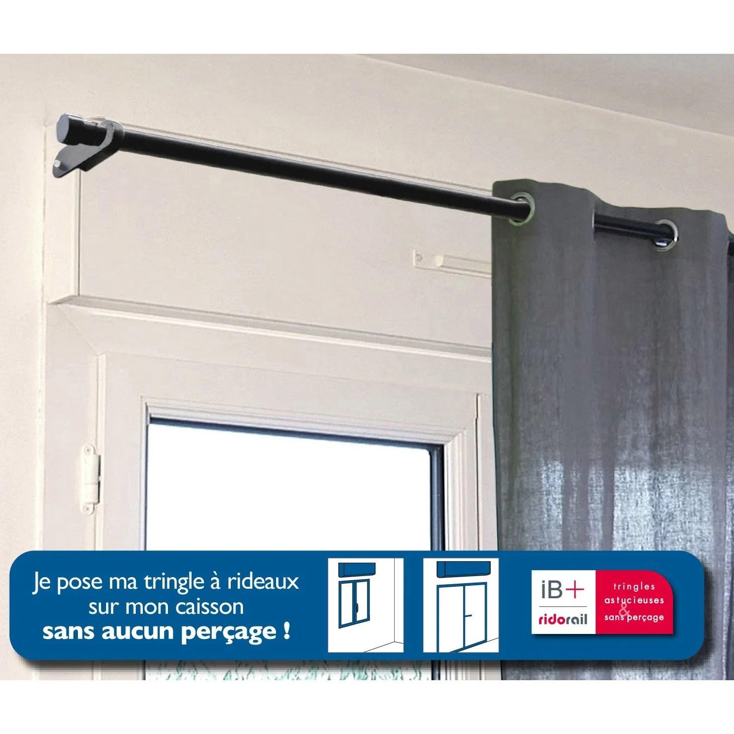 Stunning Support Sans Perage Tringle Rideau Ib Mm Noir Mat