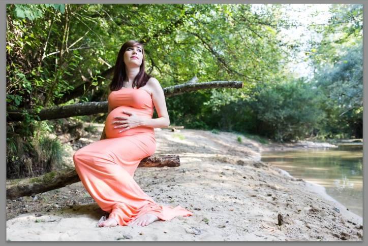 Robe évasée pêche shooting grossesse