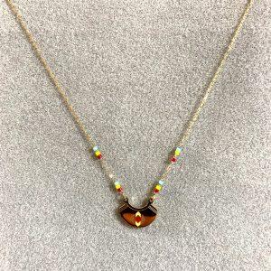 Collier doré etnique perle couleur