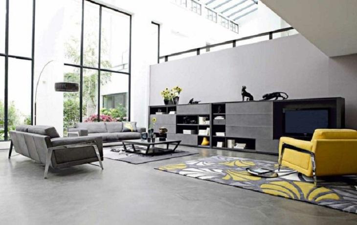 idees deco salon moderne jaune noir 2