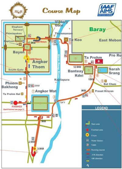 Angkor Wat : semi marathon en terre d'aventure. Carte de la course