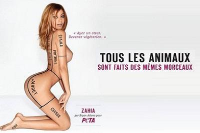 Changer son regard et ses habitudes, changer sa normalité Zahia pose pour PETA