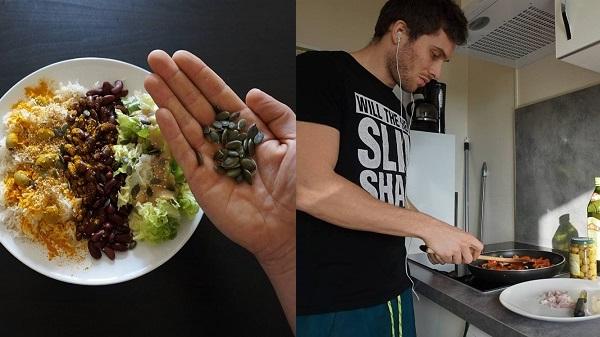 Jérémy, coach en musculation et nutrition vegan pour Treening Life. En cuisine