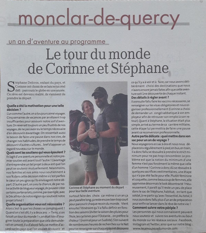 Article dans La Dépêche (monclar-de-quercy pour le départ de notre tour du monde - Les Amoureux du Monde