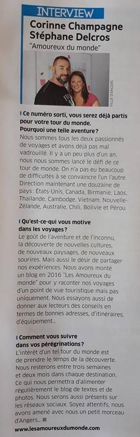 article Vivre à Angers - tour du monde - Les Amoureux du Monde