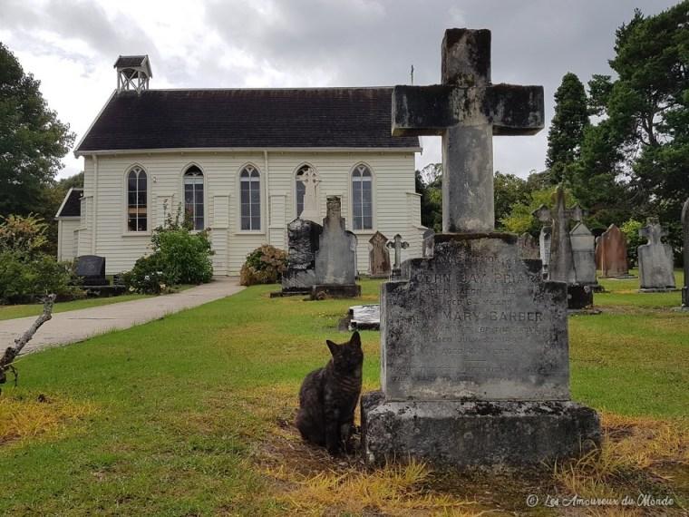 Eglise et cimetière à Russel Nouvelle-Zélande