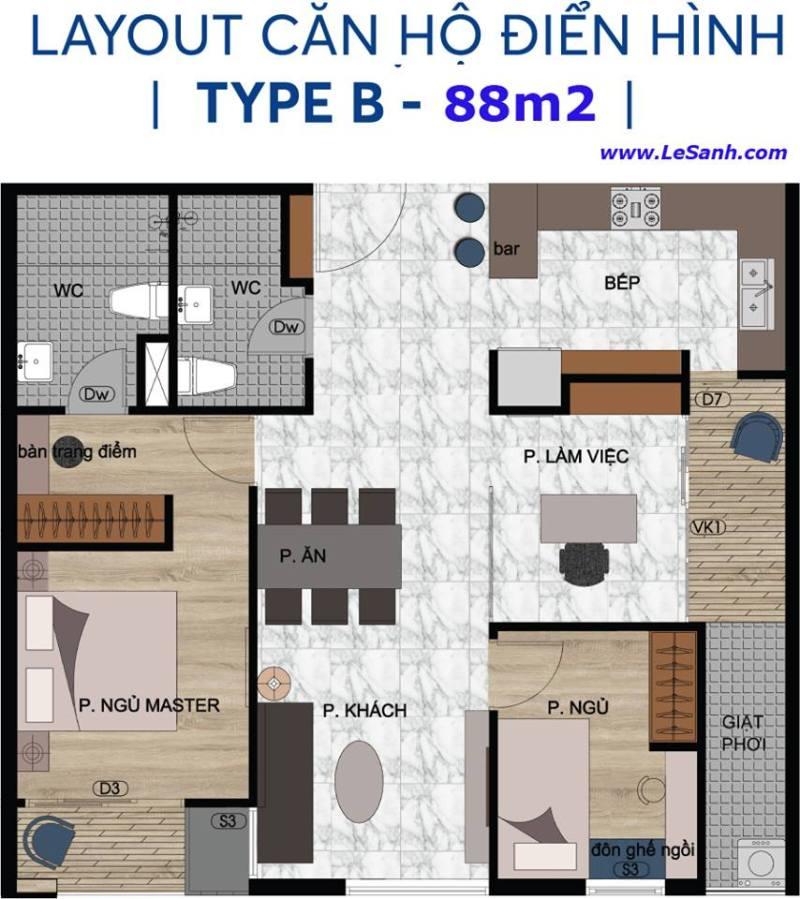 Thiết kế căn hộ Centana Thủ Thiêm căn 88m2