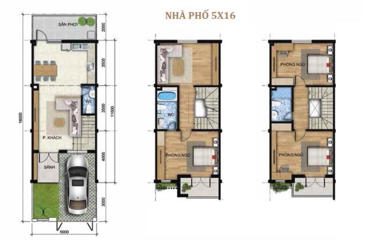 Thiết kế mặt bằng tầng nhà phố liên kế Khang Điền Bình Chánh (5x16)