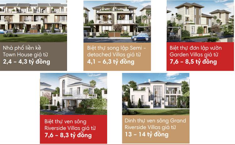 Giá bán nhà phố biệt thự tại Swan Bay