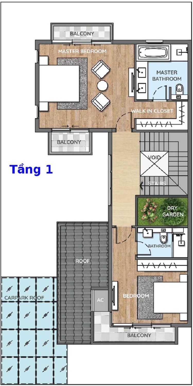 Thiết kế mặt bằng tầng 1 - Biệt thự song lập - Swan Bay