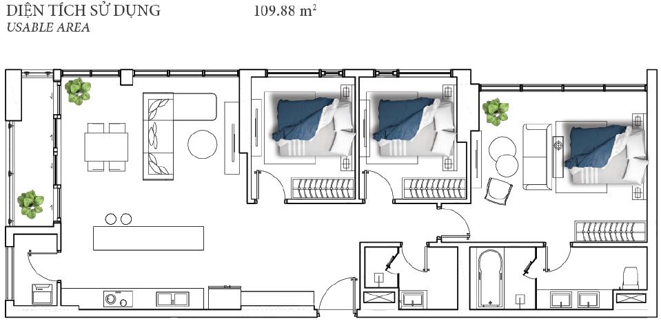 Thiết kế mặt bằng căn 3PN 109m2