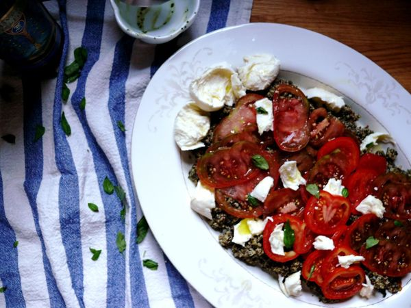quinoa caprese with tomato carpaccio