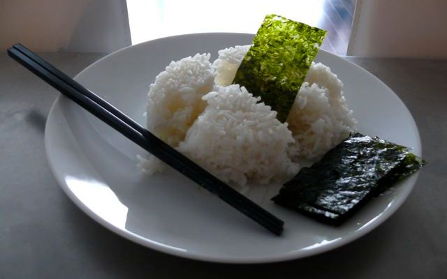 fresh, hot rice and seasoned seaweed