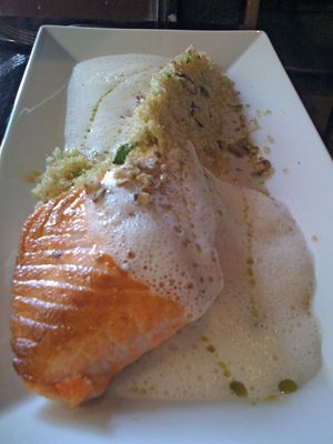 salmon w/ a couscous tail