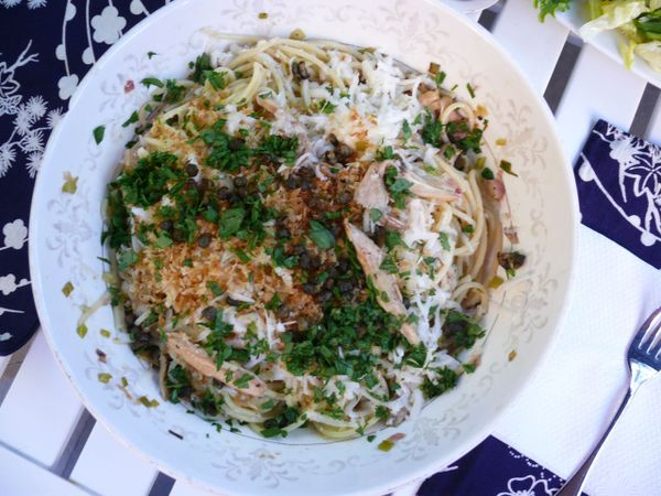 fried caper and oyster mushroom pasta