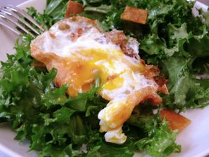 crunchy fried eggs on salad