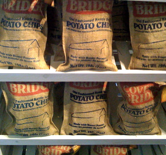 covered bridge burlap bagged chips
