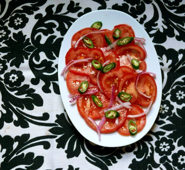 green chili and tomato salad