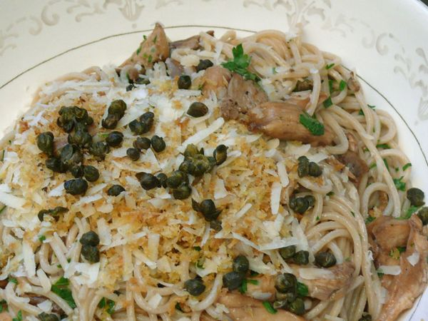 served family-style: fried caper, breadcrumb and oyster mushroom pasta