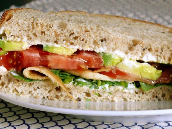 bacon, lettuce, avocado, tomato sandwich