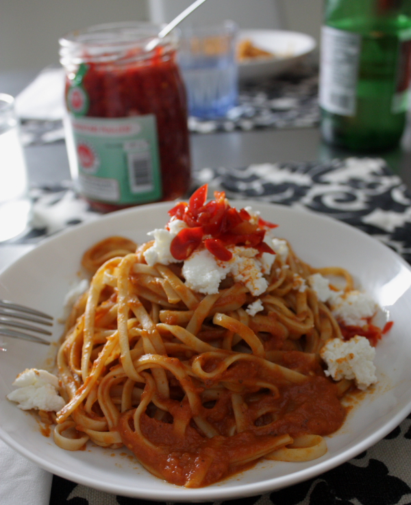 linguini with ricotta and chili oil