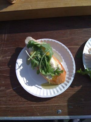 salvatore bklyn ricotta, arugula and oil baguette