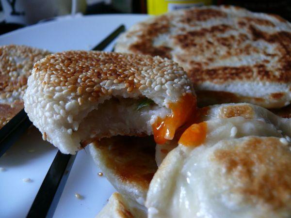 fried turnip, taro pancakes and dumplings