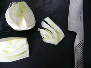 thin slices of fennel