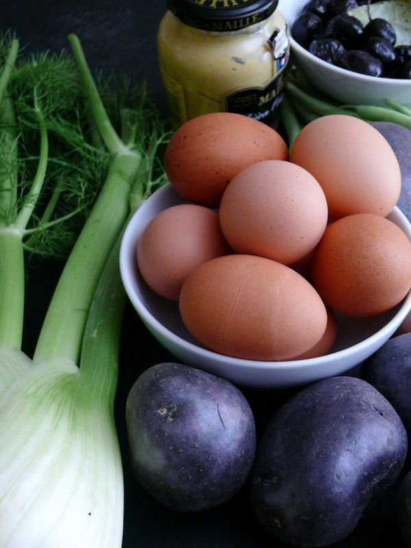eggs, fennel, purple potatoes