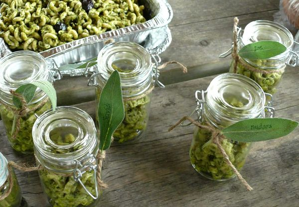 pesto and sage leaves and jars, oh my
